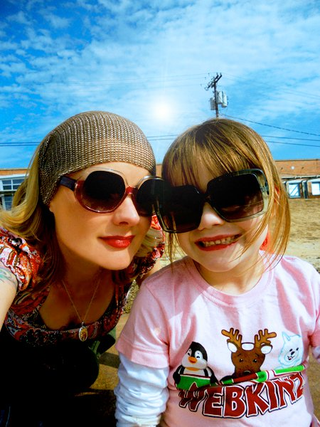 Hanging out at the skate park with my Mini Maven. They are both my shades, but she picked the biggest pair. #rock