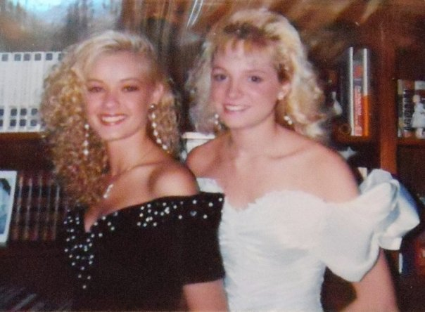 1990 Prom with my friend Amy the year I was on court. If you picked up one curl, the entire head of hair went with it! o.O
