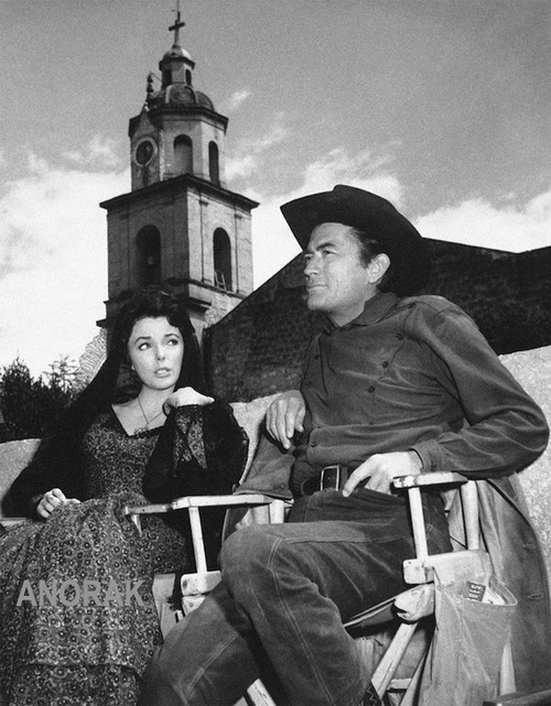 Gregory Peck on the set of The Bravados sitting beside his co-star Joan Collins. I also have a girl crush on Joan. She's still one of the most smashing woman on the planet! I always say I am Betsy Johnson meets Joan Collins (in my mind, that is:P).