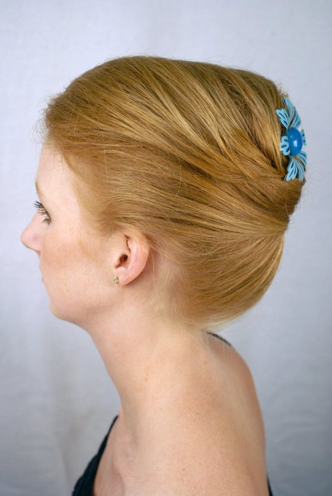 An accessorized updo by stylist Donna at His Scissors Hair Salon. Once again, model is Lena Sabin.