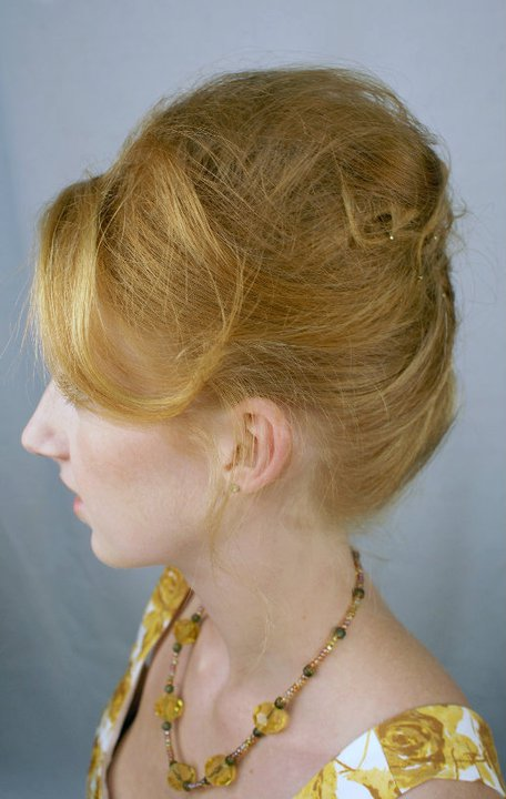 """The """"Party Up Up Updo!"""" by Mary Park-Smith, owner of His Scissors Hair Salon. Model: Lena Sabin"""