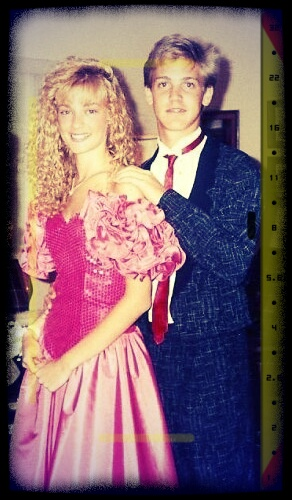 Freshman year with Trent VonGunten. This is Molly Ringwald gone all WRONG! Really, Angelika? Shameful & shameless. Beware of taking fashion tips from me blindly. You'd need to be blind!
