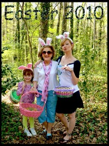 After our annual egg hunt in 2010 in our splendiferous half acre of forest of a backyard, bunny ears and all! #funtimeswithminimaven&grandmaven