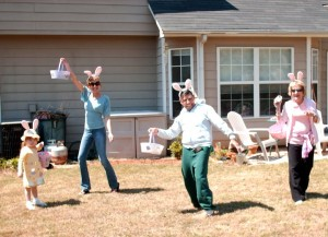 Annual Easter Egg Hunt in our backyard ~ Mini Maven, me, Grand Manven, & Grand Maven. We're an alright bunch of good eggs, I tell ya!