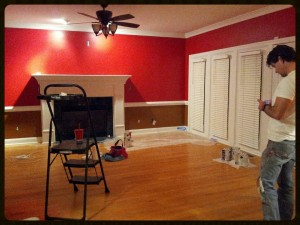 """Color scheme: """"Red Gumball"""" above the chair rail/""""Cinnamon Stick"""" below the chair rail. We're going to demo the marble on the fireplace and I am...... not going to tell you what I have planned for it! #Ilikesurprises"""
