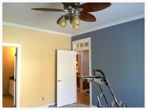 However, in the master bedroom, I like a calming sanctuary, so I used vibrant yet subdued colors: Vanilla Brandy & Drawbridge. (Obviously the fan hasn't been industrially or industriously cleaned yet. The eager beaver in me is not going to do that again until all the sanding is done.)