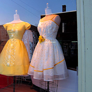 Just some delightful, springy retro dresses found in a shop window... #sunshinyhappiness