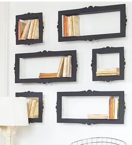 How about THIS grand concept... Old shadowbox frames! Genius! Mind you, I recognize someone has handcrafted these, but different shapes and sizes, even different colors, would be just as unique and intriguing.
