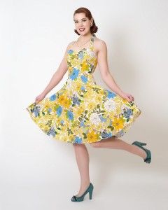 """The bright yellow and blues of this print make this dress practically scream warm weather.""""Sweetie Dress Margerite"""" @ heartbreakerfashion.com"""