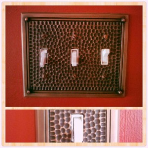 These switch plates are all throughout our living room & kitchen.