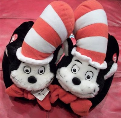 Cat and the Hat Fuzzy Slippers