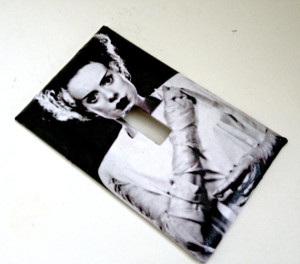 Single Toggle Light Switch Plate Cover of the Bride of Frankenstein (the hauntingly lovely Elsa Lanchester) ~ You can find this, and more, at SokayDesigns' Etsy store! But wait, there's more...!