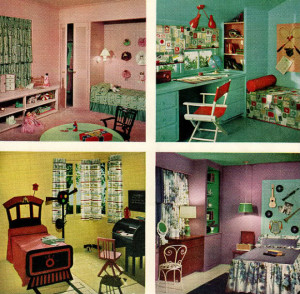... And sticking with that same 1950s color scheme, here are 4 fine photographs of some really swell children's bedrooms. :) I love how adorable they are - all themed out to a child's personal interests or personalities - but they are not overstocked with stray items everywhere. The 1950s were all about keeping surplus stuff contained/displayed neatly in toy chests & built-in shelving, while not compromising the fact that children were children. These were very hot colors for Sherwin Williams many  decades ago (and I still fancy them something silly!). This was from Sherwin William Home Decorator in 1959.