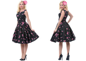 Flowery dresses with petticoats! Everything about this whole ensemble on this model is right on point - the flowery, flirty dress, the underneath bustle of petticoat, the back-seamed nylons, the basic patent heel, and the overly visible flower to give the whole thing even MORE springtime zip. I'd walk out of my house like this every day (that I wasn't doing some labor extensive work, like I tend to enjoy just as much). You can find a plethora of prim & pretty dresses like this on Unique Vintage. Not a lot of people into vintage/retro fashion are not absolutely enamored by UV's catalog & collections, but on that off chance you Mavens have accidently missed the memo - UNIQUE VINTAGE ROCKS THE CASBAH!