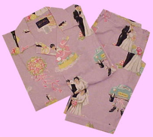 LOVE AND MARRIAGE Nick & Nora pajamas. These lavender pajamas have wedding cakes,bouquets and even a brides and grooms! They retail at $60.