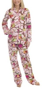 """Poplin It's a Hoot"" Nick & Nora pajamas"